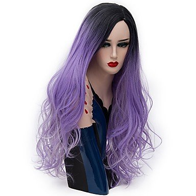 Peluca de pelo sintético natural ondulado color morado para mujer, sin capucha, peluca de