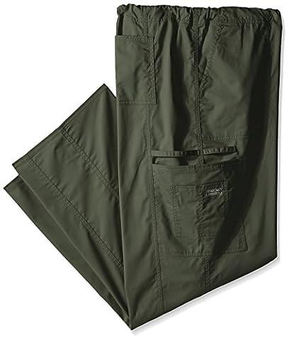 Cherokee Men's Big and Tall Ww Core Stretch Unisex Drawstring Cargo Scrub Pant, Olive, XXX-Large - Elastic Cargo Scrub Pants
