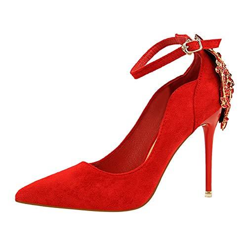 A 39 EU FLYRCX mode tempéraHommest Suede Sexy Hauts Talons Lady Bracelet de Cheville Unique Chaussures Pointues Strass Fine avec des Chaussures de Mariage