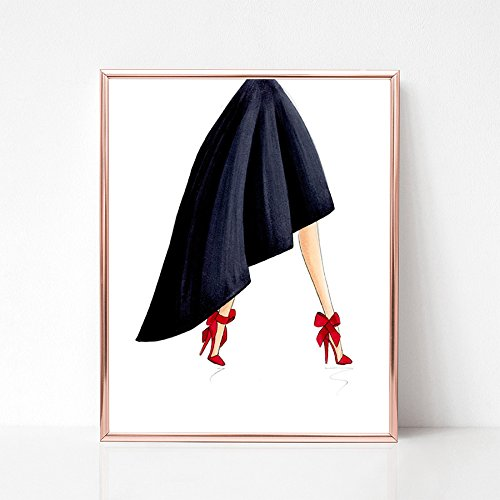 Red Bow Stilettos Fashion Illustration Art Print by De Almeida Illustrations
