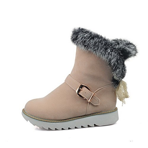 Closed top on Heels Low Low Toe Boots Women's Solid AgooLar Beige Pull Round nUH0RxxX