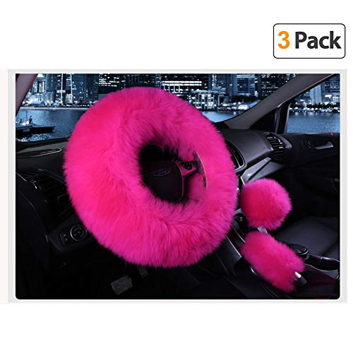 Younglingn Car Steering Wheel Cover Gear Shift Handbrake Fuzzy Cover 1 Set 3 Pcs Multi-colored with Winter Warm Pure Wool Fashion for Girl Women Ladies Universal Fit Most Car (Rose red)