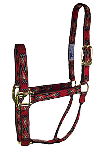 Hamilton 1-Inch Nylon Quality Halter for 800 to 1100-Pound Horse, Average, Southwest Pattern, Red ()
