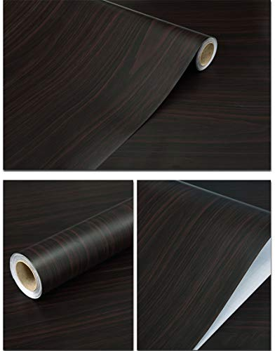 Glow4u Faux Dark Wood Grain Self Adhesive Vinyl Contact Paper Shelf Liner for Kitchen Cabinets Countertops Table Furniture Drawer Dresser Peel Stick Wall Paper 15.7x117 Inches ()