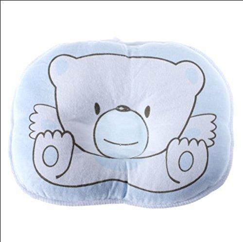 MTSZZF Cute Bear Cotton Soft Newborn Baby Prevent Flat Head Pillow Support (Blue)