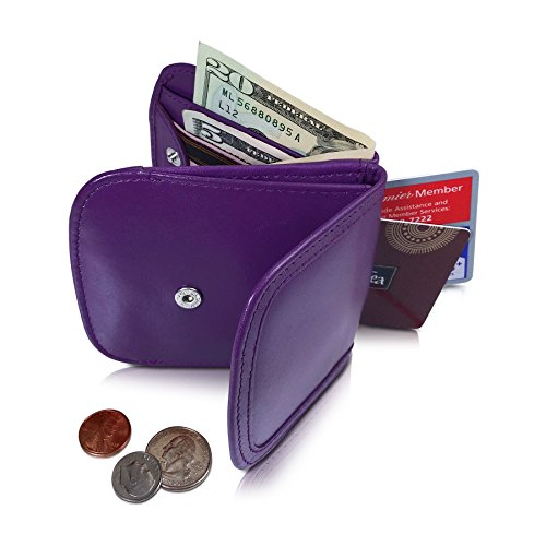 TAXI WALLET Purple Small Folding LEATHER Minimalist Card Coin Front Pocket Wallet for Men & Women ()