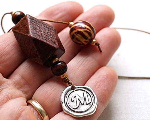 Unique Personalized Bookmarks - Custom Beaded Bookmark Personalized Gift Idea Initial Wax Seal Letter Unique Gift for Men Women Reader Husband 5th Anniversary Gift Wood Brown Big Chunky Beads Handmade and Crafted by KapKaDesign