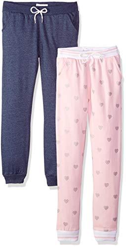 Freestyle Revolution Girls' Big Sport Fleece Heathered Jogger Pants (2 Pack), Denim/Almond Blossom, 10 ()