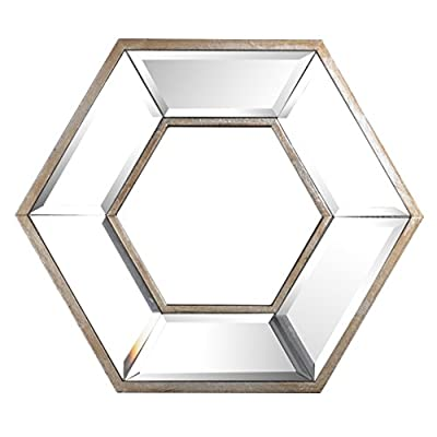 A&B 41358-AB 14x12 Hexagon Wall Mirror - 85Percent glass 15Percent MDF Crafted by Hand Wipe with damp cloth - bathroom-mirrors, bathroom-accessories, bathroom - 41zdVk RgkL. SS400  -