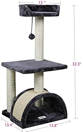 Amazon Com Roypet 32 Cat Tree With Scratching Pad And Perch Grey Pet Supplies