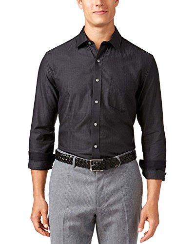 Tasso Elba Mens Herringbone Long Sleeves Dress Shirt Black - Shirt Long Dress Sleeve Herringbone
