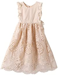 Off White Peach Vintage Lace Sleeveless Flower Girls Dress