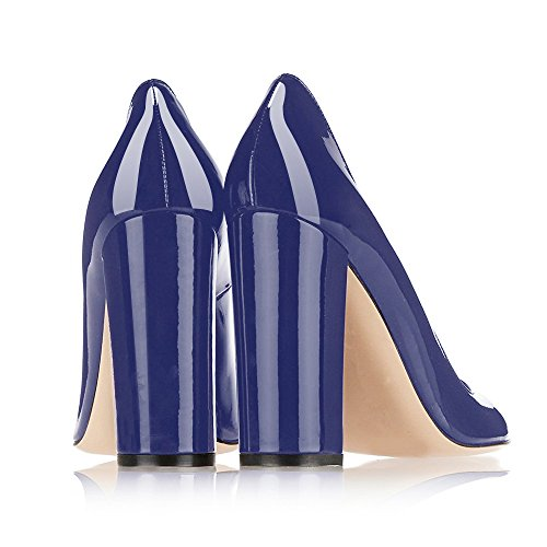 Modemoven Women's Sexy Patent Leather Round Toe Block Heels Pumps Gorgeous Evening Party Stiletto Shoes Blue outlet with paypal order JhRf9vxZB