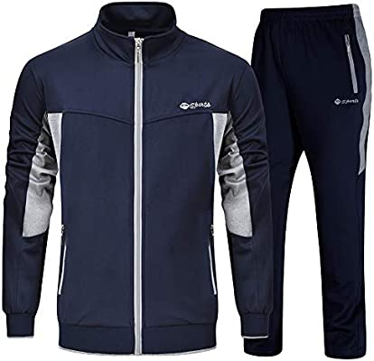 X-Future Men Two Pieces Stand Collar Zipper Jacket and Gym Pants Sweatsuit