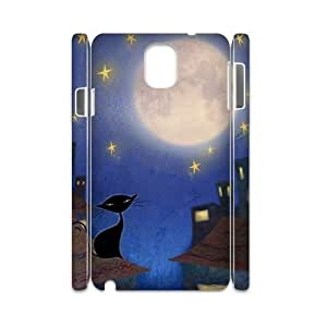 Customized Durable Case for Samsung Galaxy Note 3 N9000 3D, Cat, Sun and Moon Phone Case - HL-506678