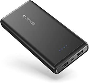 Portable Charger RAVPower 20000mAh Power Bank USB External Battery Pack Dual iSmart 2.0 USB Ports, Ultra Safe Power Bank for iPhone 11/Pro Max, Ipad, Samsung Note 10/S10 & Android Devices (2019)