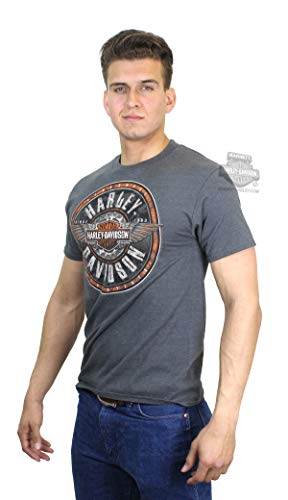 - Harley-Davidson Mens Round Tin Winged Trademark B&S Charcoal Short Sleeve T-Shirt (2X)