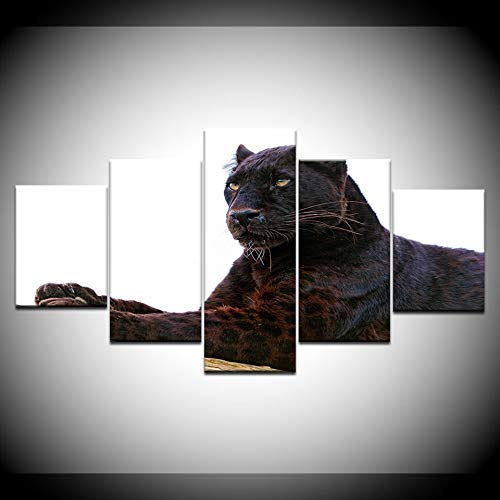 JFSJDF Modern Home Decor Print On Canvas Wall Modular Picture 5 Panel Animal Black Panther Painting Art Poster for Living Room
