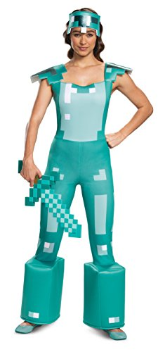 Disguise Women's Minecraft Armor Female Adult Costume, Blue, L (12-14) -