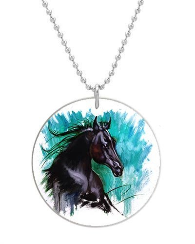 Black Beauty Horse Dog pet tag- Big-Size Round Dog Pet Tag 1.7 x 1.7 inche with 38cm Aluminum Bead Chain