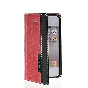 Fhirdist Cartera Carcasa del tirón la cubierta Cuero protectora Caso Tapa Apple iPhone 4 / 4S Rojo