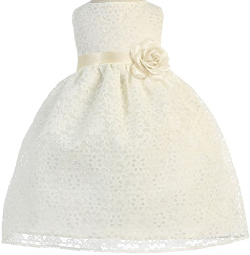 Lovely Floral Lace Satin Sash Baby Little Special Occasion Dresses (74C9A) Ivory (Satin Lace Dress)