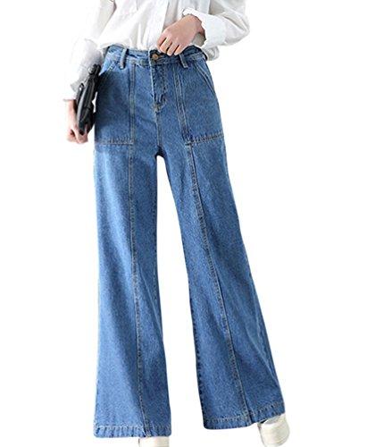 Larghi Chiaro Bootcut Casuale Jeans Straight Alta A Donna Comodo Azzurro Vita Da Runyue Baggy Denim Pantaloni 7Z5qww