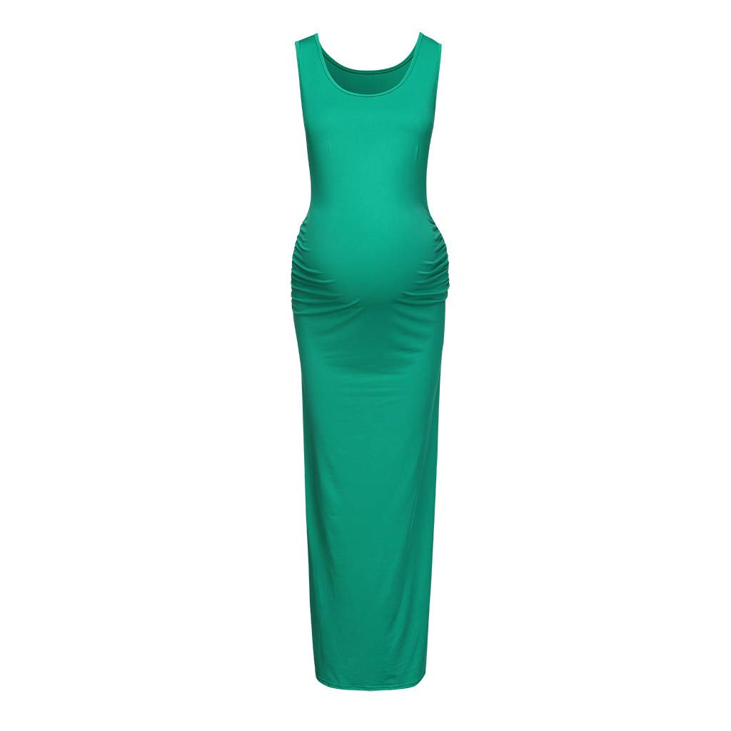 Women's Sleeveless Modal Maternity Maxi Dress Solid Comfortable Tank Dress Pregnancy Dress Maternity Clothes Green
