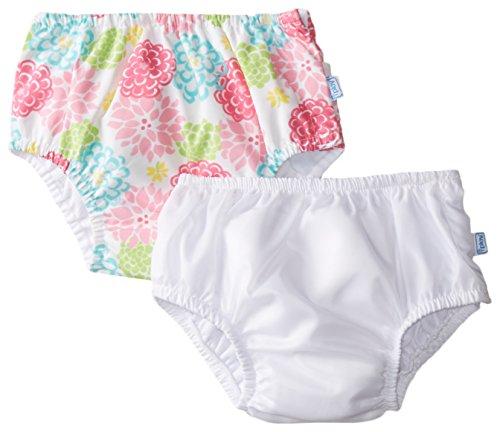 i play. Baby Reusable Swim Diaper, White/White Zinnia, 18 Months (Pack of 2)