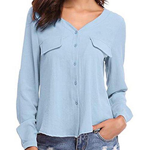 Damen V-Ausschnitt Knopf Langarm Tops DOLDOA Oberteile T-Shirt Bluse Blau