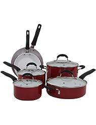 Oneida Red 10pc Non-Stick Ceramic Aluminum Cookware Set