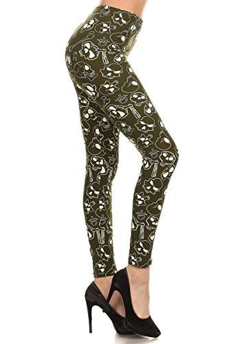 R572-PLUS Skulls and Bones (Olive) Print Fashion Leggings]()