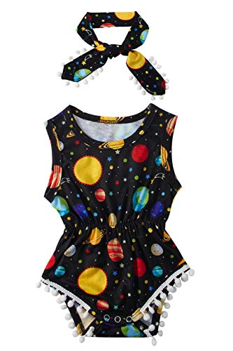 Little Girl Bodysuits 0-3 Months 3D Graphic Universe Jumper + Headband Adorable Toddler Sleeveless Outfit Personalized Newborn Suit Vintage Pompom Tassel One Piece Rompers Kids Clothes Set Size 70 ()