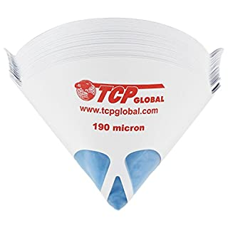 """TCP Global 50 Pack of Paint Strainers with Fine 190 Micron Filter Tips - Premium""""Pure Blue"""" Ultra-Flow Blue Nylon Mesh - Cone Paint Filter Screen"""