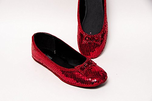 Women's Starlight Red Ballet Flats Slippers Shoes with Rhinestone Bows ()