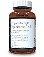 pureclinica Hyaluronic Acid 300mg x 180 Tablets (3 Months Supply). Triple Strength Hyaluronic Acid. 300% Stronger Than Any Other HLA Tablet. SKU: HLA3