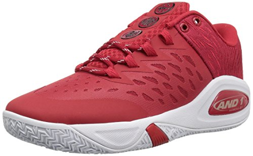 (AND 1 Men's Attack Low Basketball Shoe, Chinese red/Super foil/White, 13 M US )
