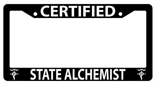 Jesspad - Certified State Alchemist Black License Plate Frame Fullmetal Alchemist, Auto License Plate Holder -