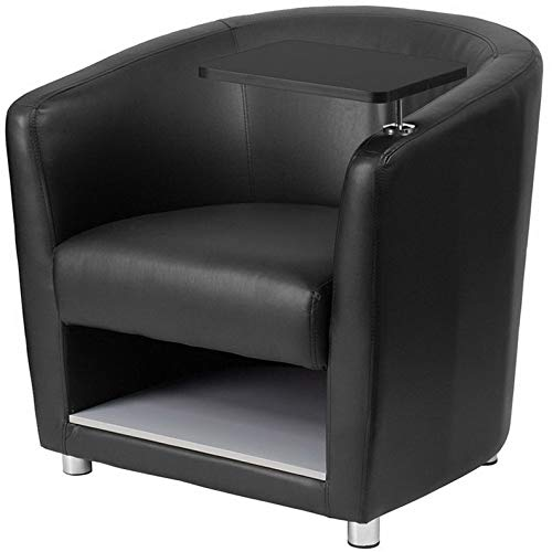 Campton Black Leathersoft Guest Chair w/Tablet Arm and Under Seat Storage -Lounge Chair | Model LNGCHR - 74