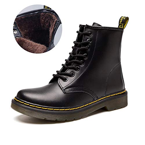 JACKSHIBO Women's Men's Fashion Leather Motorcycle Shoes Winter Combat Boots ()