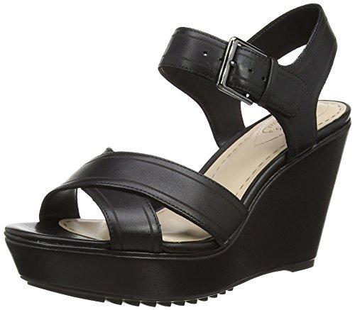 Clarks Scent Sky - Sandalias de cuña Mujer Negro (Black Leather)