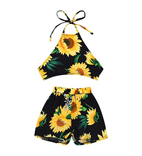 MA&BABY Baby Girls Halter One-Pieces Romper Jumpsuit Sunsuit Outfit Clothes 0-24M (6-12 Months, Sunflower 1)
