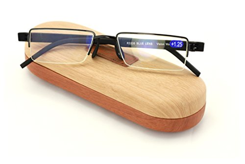 Lightweight Half Rim Computer Reading Glasses - Anti-Blue AR Coating - Reduce fatigue, strain, & dry eye from digital gear. (Black, - Computer Glasses Reduce Eye To Strain
