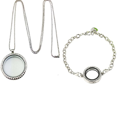 Buytra 2 Pack Living Memory Floating Charm Glass Locket Pendant Necklace Bracelet Set for Women Girls Jewelry Making, Silver
