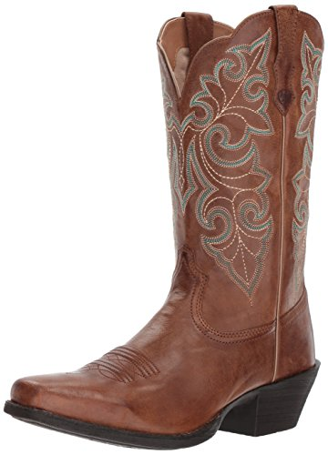 Ariat Women's Women's Round up Square Toe Western Boot, Wood, 10 B US