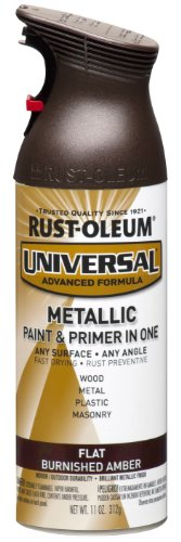 - Rust-Oleum 271472 Universal All Surface Spray Paint, 11 oz, Flat Metallic Burnished Amber