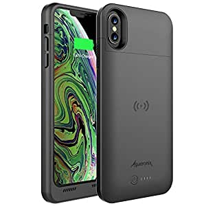 Alpatronix iPhone Xs Max Battery Case, Ultra Slim Portable Protective Extended Charger Cover with Qi Wireless Charging Compatible with iPhone Xs Max ...