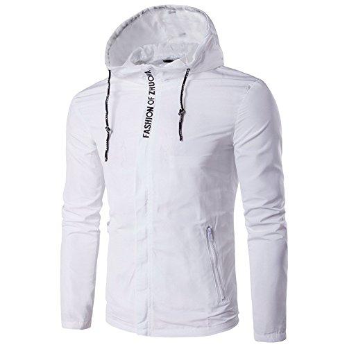 Los hombres chaquetas personalidad ocio hombres chaqueta Chaqueta incluso cap casual, blanco ,3XL