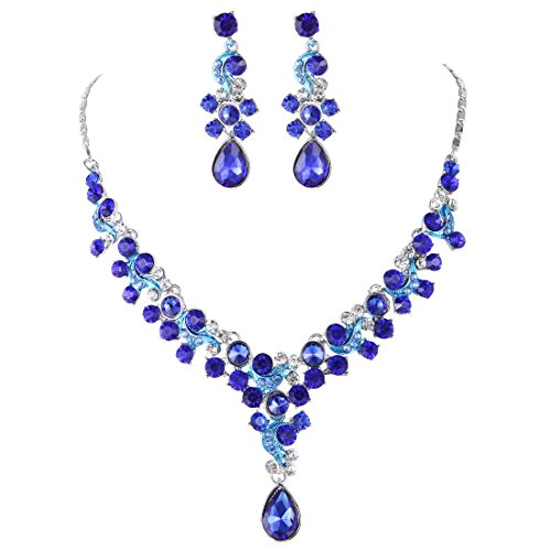 [FAYBOX Glamorous Crystal Rhinestone Beading Necklace Earrings Wedding Jewelry Sets Royal blue] (Necklaces And Earrings)