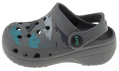 Capelli New York Toddler Boys Shark Bait Printed Injected Eva Clog With Backstrap Grey Combo 4/5